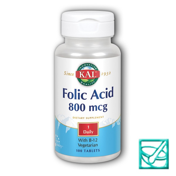 KAL FOLIC ACID 800mg+vit B12 tbl a100